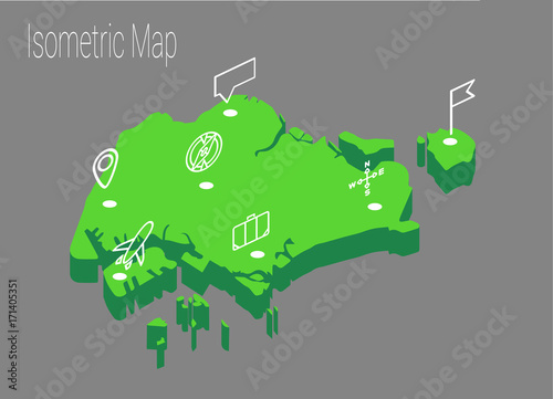 Photo  Map Singapore isometric concept.