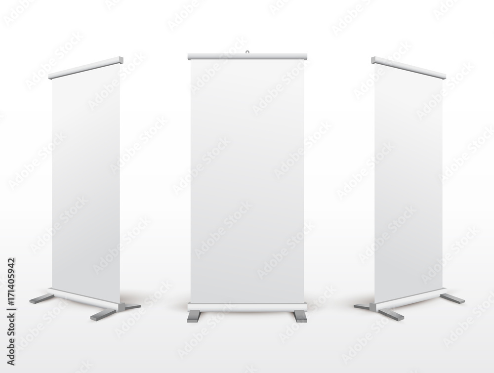 Fototapeta Set of roll up banner stand. Flip Chart for training or promotional presentation. Design template blank pop up banner display template for designers. Vector illustration. Isolated on white background
