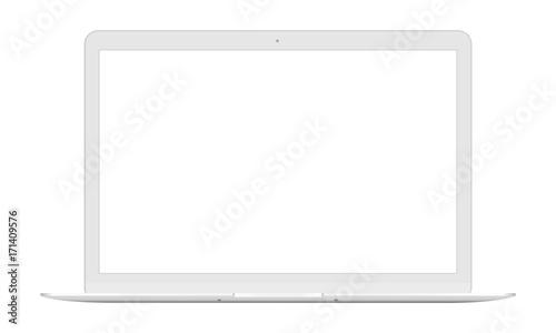 Fotografie, Obraz  Laptop front view -  white mockup isolated. Vector illustration
