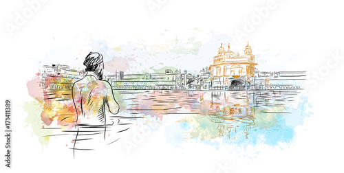 Fényképezés  Watercolor sketch of Golden Temple Amritsar India in vector illustration