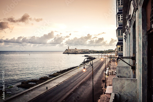Recess Fitting Havana Cuba, Havana, embankment Malecon, fascinating cloudscape, skyline, dawn