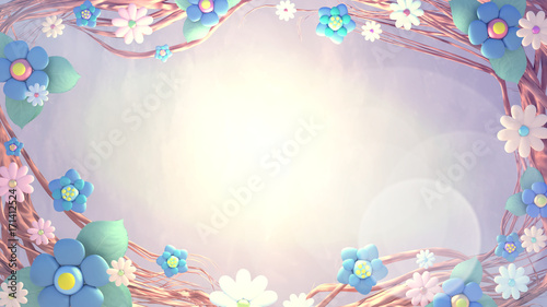 beautiful-flower-frame-lens-flare-effect-blank-copy-space-for-your-logo-message-or-products-display-3d-rendering-picture