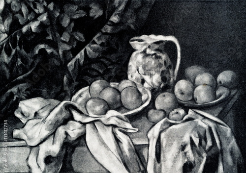 Plakat Martwa natura z kurtyną (Paul Cézanne, 1895)