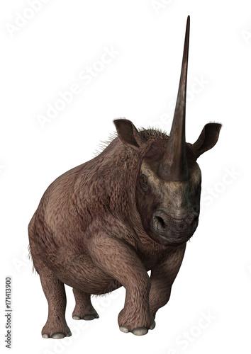 Fototapeta premium 3D Rendering Rhinoceros Elasmotherium on White