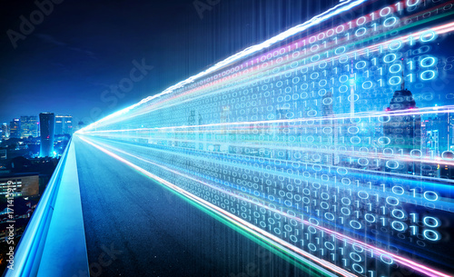 Canvastavla  Highway flyover with binary code numbers on motion blurred asphalt  road , speed and faster digital matrix technology information concept