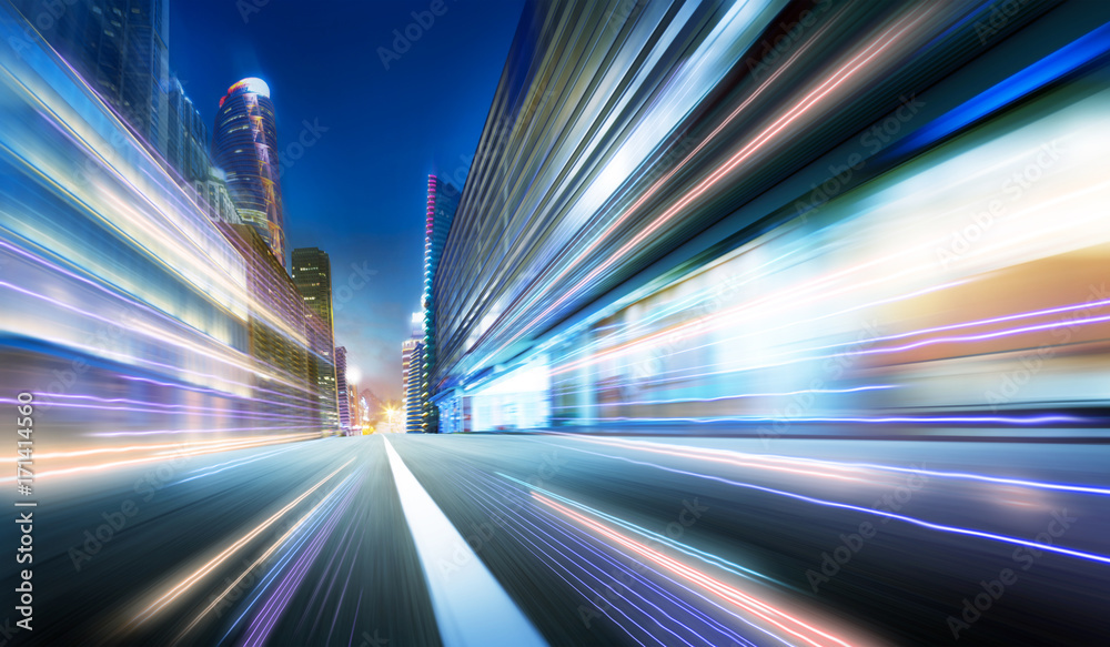 Fototapety, obrazy: Moving forward motion blur background with light trails ,night scene .