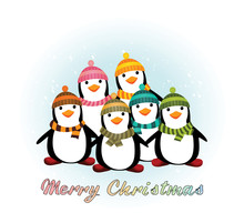 Christmas Background With Cartoon Penguines