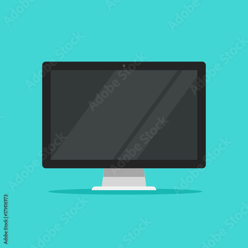 Fotografie, Obraz  Monitor vector illustration, flat cartoon wide screen display isolated on color
