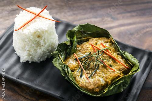 Poster Klaar gerecht traditional Cambodian khmer fish amok curry
