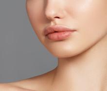 Sexy Plump Full Lips. Close-up...