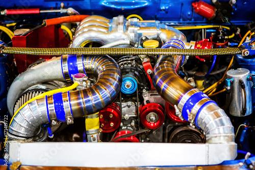 Keuken foto achterwand Verenigde Staten High precision muscle car engine, Customized race car engine autoautomobileautomotivebackgroundbrandbrightcarchromeclassiccleanconceptengineexpensivefastfuelfuturefuturisticglimmerhorsepowerisolatedl