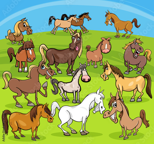 Deurstickers Pony cartoon horses farm animals group