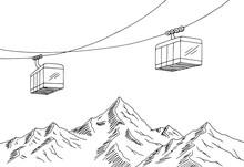 Cable Car Graphic Mountain Bla...