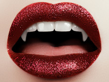Female Lips With Glittering Re...
