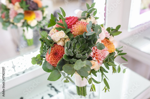 Valokuvatapetti bright wedding bouquet of summer dahlias and roses