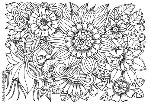 Flower pattern in black and white for adult coloring book. Can use ...