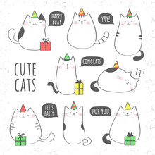 Set Of Cute Cats With Gift Box...