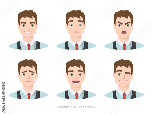 Fotografie, Obraz  Set of emotions for business man.