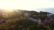 Top view of the Water Tower of Svetlogorsk in sunset