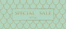 Golden Chain Sale Banner Template. Light Turquoise Gold Fish Scales. Promotional Commercial Offer Invitation Vector Illustration