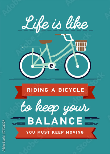 Εκτύπωση καμβά Inspirational and encouraging quote vector poster with bicycle