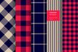 Gingham plaid seamless pattern set