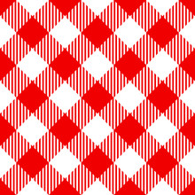 Red Check Diagonal Seamless Pattern