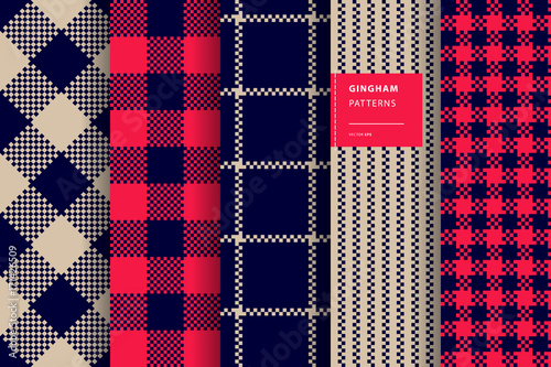 Deurstickers Kunstmatig Gingham plaid seamless pattern set
