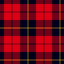 Scottish Plaid In Red, Black, Yellow. Wallace Tartan Seamless Pattern