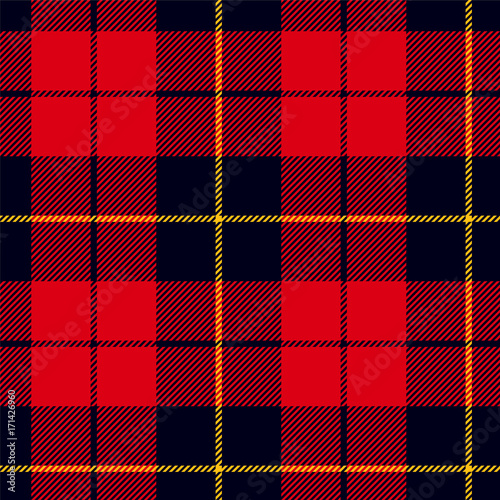 Scottish plaid in red, black, yellow. Wallace tartan seamless pattern Wall mural