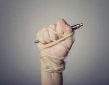 Hand With Pen Tied With Rope, ...