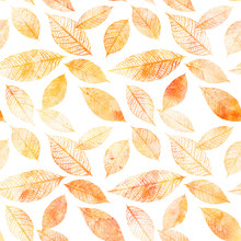 Seamless Background Pattern Of Golden Tinted Watercolor Leaves