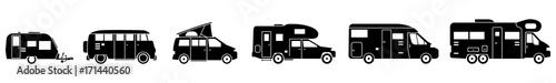 Fotomural Camping - Verschiedene Wohnmobile (Set/ Schwarz)