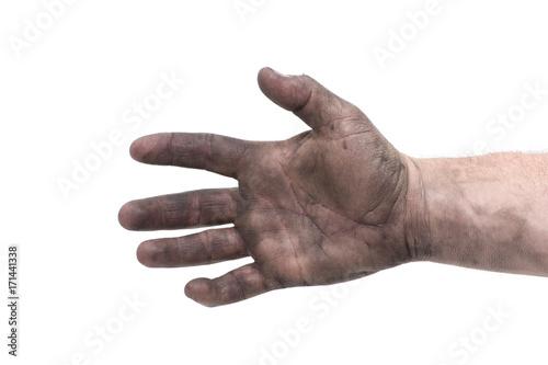 Obraz dirty man hand isolated white background - fototapety do salonu
