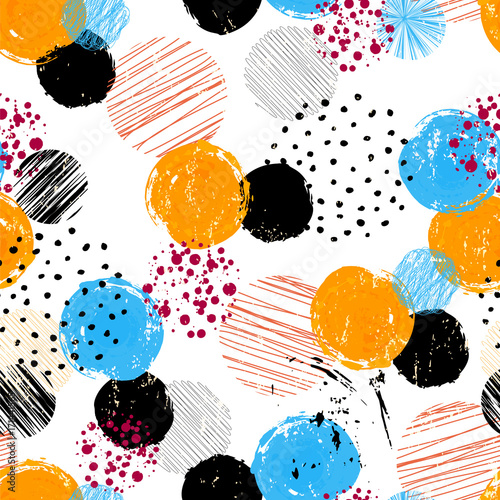 seamless polka dots background pattern,vector, strokes and splashes