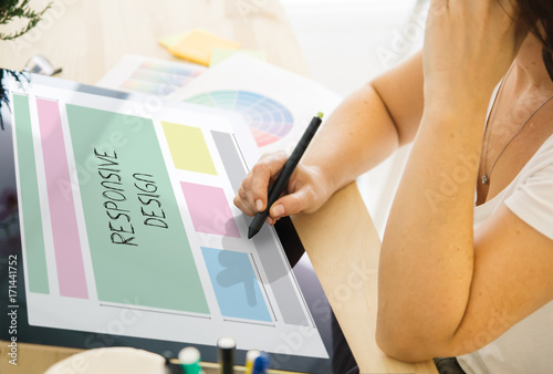 Stampa su Tela  web designer working with a tablet