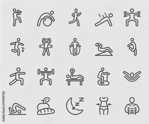 Fotografia  Exercise and Fitness for Health line icon
