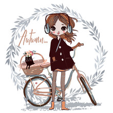 Cute Autumn Girl With Cat