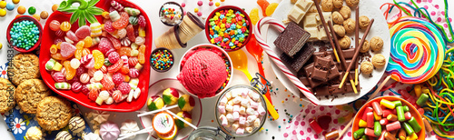 Panoramic banner with an assorted colorful candy