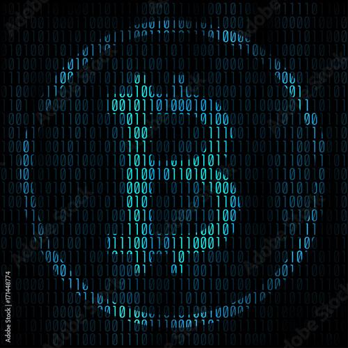 Fotografie, Obraz Bitcoin coding abstract background