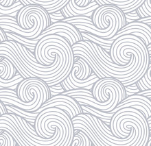 Abstract Wind Texture, Sea, Ocean And River Vector Waves Background. Smoke And Steam Gray Pattern.