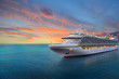 canvas print picture - Luxury cruise ship sailing to port on sunrise