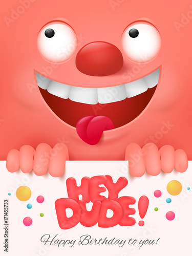 Happy Birthday Invitation Card With Cute Emoticon Face On