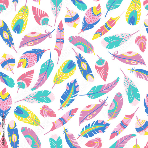 Seamless pattern of ethnic feathers Canvas Print