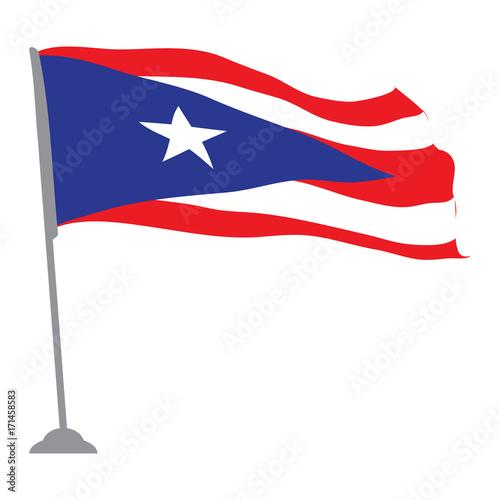 Plakat Odosobniona flaga Puerto Rico, Wektorowa ilustracja