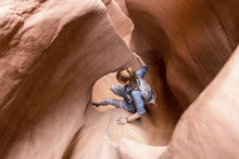 High Angle View Of Woman Hikin...