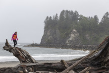 Woman Walking On Driftwood At Shore Against Sky