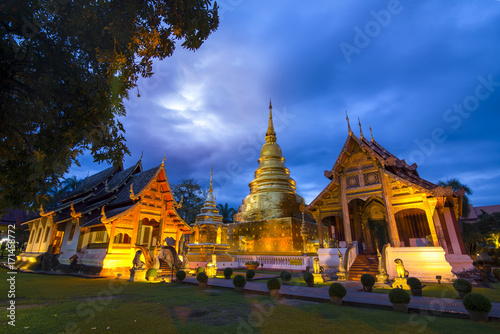 Tuinposter Bangkok Wat Phra Sing Temple of Chiang Mai Thailand in Twilight time