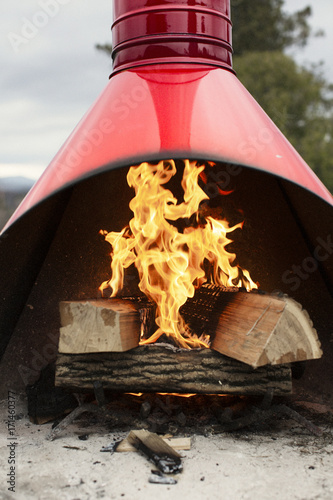 Tuinposter Hout Wood burning at fireplace in yard