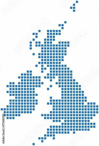 Blue square shape United Kingdom map on white background. Vector illustration.
